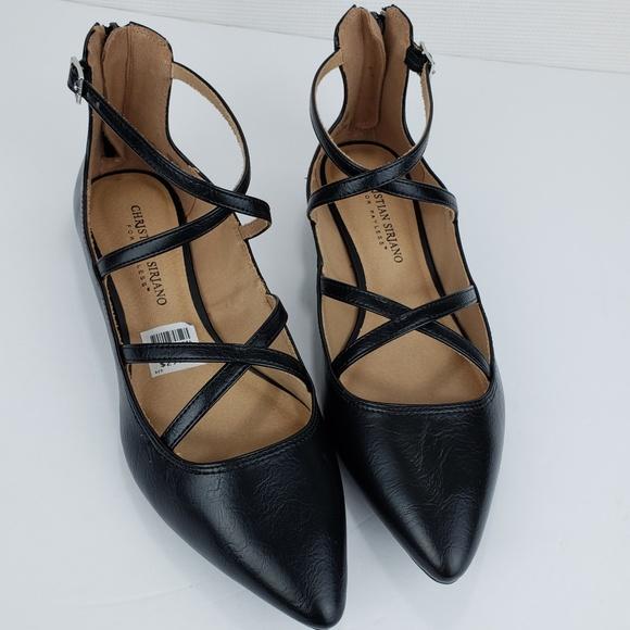 4e73e78c0066 Christian Siriano Black Ankle Wrap Pointed Flats
